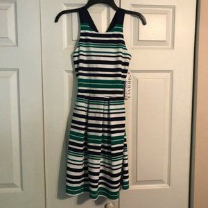 ALMOST FAMOUS Small Blue Green White Dress Striped